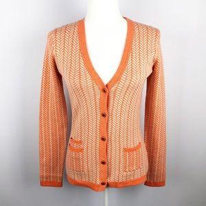 Margaret O'Leary | Orange Print Button Cardigan